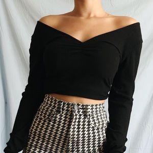 Black, Off the Shoulder, Long Sleeve, crop top